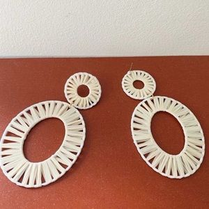 NWT Anthropologie white hoop earrings
